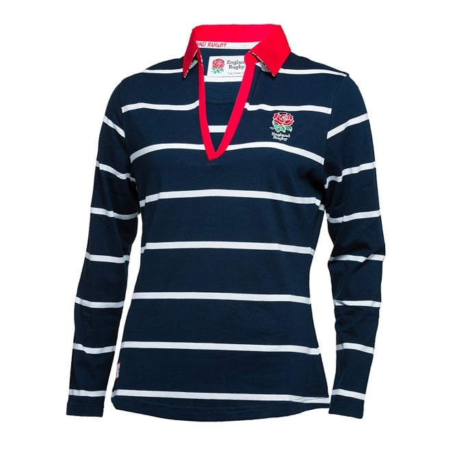 England Ladies Long Sleeve Striped Rugby Shirt